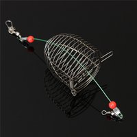 Wholesale Lure Wire Tool - Wholesale- Small Bait Cage Fishing Trap Basket Feeder Holder Stainless Steel Wire Fishing Lure Cage Fishing Tackle Accessory tool