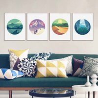 Wholesale Sun Painting Modern Art - Modern Cottage Natural Scenery Mountain Sun Tourist Canvas Large A4 Art Print Poster Wall Picture Home Decor Painting No Frame