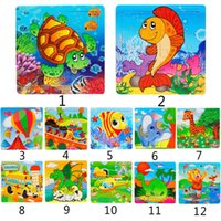 Wholesale woods puzzle - Amazing 1PC Tortoise Wooden Kids 16 Piece Children Jigsaw Education And Learning Puzzles Toys(Size:14.7cmx14.7cm)