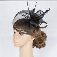Wholesale Sinamay Hat Black - 17 colors fashion sinamay material fascinator headpiece black&beige Bridal Headwear wedding headpiece event hair Accessories cocktail hat