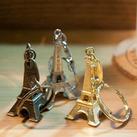 Wholesale Eiffel Keychains - Romantic Wedding Favors Alloy Retro Eiffel Tower Keychains Advertising Gift Key Ring Supplies(Gold Silver Copper DHL Free Shipping