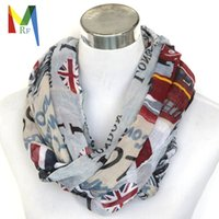 Wholesale Scarves London - Wholesale- Women's handkerchief Famous British Attractions Printed Viscose long Scarf, Casual London Covent Garden necklace Free Shipping