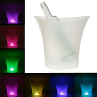 Wholesale Wholesale Bucket Led - 5L 7 Colors LED RGB Drinks Beer Ice Bucket Ice Cooler Light Changeable Champagne Wine Beverage Bar Party Tools
