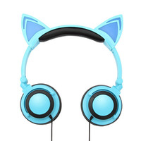 Wholesale headphones cats resale online - 2017 Foldable Flashing Glowing Cute Cat Ear Headphones Gaming Headset Earphone with LED light For PC Laptop Computer Mobile Phone