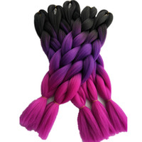 "Wholesale braiding braid hairstyles - Fashion Black Purple Rose Pink 3Tone Ombre Color Jumbo Braids Hair Bulk Extensions 24"" 5pcs lot Synthetic Crochet Box Twist Braids Hairstyle"