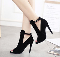 Wholesale Small Boot Heel - Stylish black high heel peep toe ankle boots with small buckle fashion shoes 2017 size 34 to 39