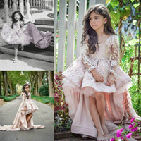 Wholesale dress girl pageant - Lovely High Low Tulle Lace Flower Girls Dresses Train Long Sleeve Little Girls Pageant Dress 2018 Cheap Girl Formal Wear Party Ball Gown