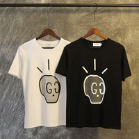 Wholesale Street Blouse - 2017 Spring Summer Italy streets Fashion Tee t-shirts skull G and G printing brand loose clothing blouses men black white 2XL