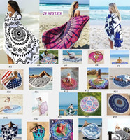 Wholesale Beach Towels Beige - Round Beach Towels Women Bikini Shawl Bohemian Mandala Tassels Beach Towel Cotton Serviette Cover up Swimsuit Beachwear Mat Blanket