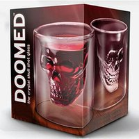 Wholesale Doomed Shot Glass - 2017 Doomed Crystal Skull Head Double Wall Vodka Shot Glass Cup for Home Bar Birthday Party Beer Wine Whisky Drinking Glasses Cup XL-G78