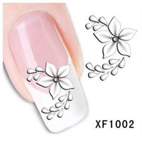 geçici yay dövmeleri toptan satış-ZKO 1 Sayfalık Opsiyonel Çiçek Yaylar Kedi Vb Su Transferi Sticker Nail Art Çıkartmaları Nails Sarar Geçici Dövmeler Filigran Araçları