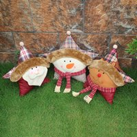 Wholesale cute snowman plush - Christmas Decorations Christmas Gift Party Decoration Cute Pillow Baby Kids Plush Toys Accessories Santa Claus Snowman
