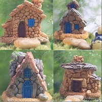 4Pcs / Lot Micro Cottage Landscape Decoration per DIY Resin Artigianato in stile casuale Stone House Fairy Garden Miniature Craft