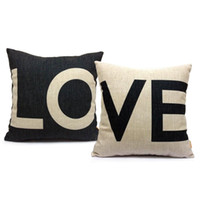 Wholesale Love Sofa Chair - Hot Sale Pillow Covers Cushions Printed LOVE Wedding Office Sofa Chair Home Textiles Pillowcase Without Pillow Core