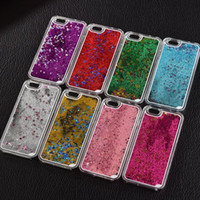 Wholesale Transparent Iphone4s Cases - New Fashion Liquid Glitter meteor sand sequins Colorful Dynamic Transparent Hard Mobile Phone Cases For iphone4s 5 SE 6 6s 7Plus