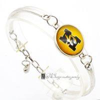 Wholesale Wholesale Michigan - 2017 Fashion Bracelet&Bangle Michigan Wolverines NACC University Team Sport Charms Bracelet for Women Fan Jewelry SP035