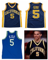 Wholesale California Shirts - Throwback California Golden Bears Jason Kidd College Basketball Jersey Navy Blue #5 Jason Kidd Shirts University Stitched Jerseys S-XXL