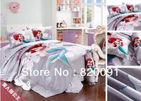 Wholesale Cartoon Bedding Queen - Wholesale- The Charming Mermaid Princess Bedding bed Sets Twin Full Queen King 100% Cotton cartoon Duvet quilt Cover Set 3 4piece bed sheet