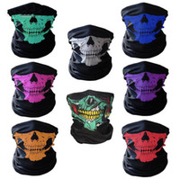 Wholesale Face Mask Bandanas - Wholesale -2017 New Motorcycle bicycle outdoor sports Neck Face Mask Skull Mask Full Face Head Hood Protector Bandanas C012