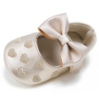 Wholesale baby girl leather moccasins online - Baby Moccasins Multi Color Infant Prewalker Hearts Bowknot PU Leather Children Shoes for Boys Girls Soft Anti slip Sole LG83
