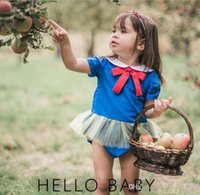 Wholesale Snow White Romper - INS hot styles New Arrivals baby kids Europe and America style blue beautiful girl romper Snow White princess romper