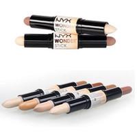 Wholesale lipstick new for sale - Group buy new NYX Wonder Stick Highlight and Contour Stick light medium Deep universal colors lipstick DHL