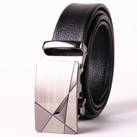 Wholesale Girls Business Wear - Durable Automatic Buckle Military &Business Belt Luxury Men Classic Genuine Natural Grain Leather All Match Fashion Belt Wear Resistance