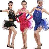 Wholesale Latin Dance Costumes For Girls - Fashion Sequin Latin Dance Dresses For Girls Lace Ball Salsa Dancing Costumes Vestidos Kids Samba Modern Stage Dancewear