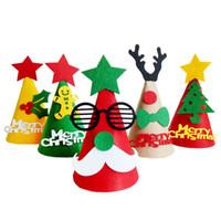 Wholesale Wholesale Craft Supplies Charms - 2017 Christmas Santa Claus Hat Caps Decorations Festival Charms Favor Caps Christmas Gifts Party Supplies Crafts