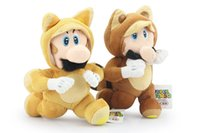 "Wholesale Tanooki Mario Toy - Hot ! 2pcs Lot Super Mario Bros Plush Dolls Running Kitsune Tanooki Mario and Fox Luigi Plush Doll Toy 8"" 20cm"