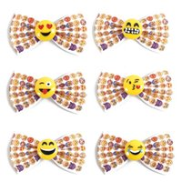 Wholesale Girls Smile Face - 3 Inch Mini Cute Emoji Hair Bow Boutique Girls Kids Hair Clips Smile Face Hair Pins For Toddler