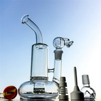 Wholesale oil rig glass bucket for sale - Group buy High Quality Beaker Glass Bong Vortex Recycler bongs With mm Joint Tornado Perc Dab Rig with Quartz Bucket water pipes oil rigs WP146