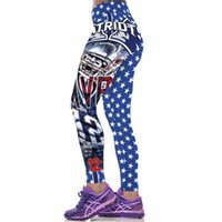 Wholesale Girls Sexy Tights - Football style printed leggings joggers pants ladies women running pants training pants tights gym tights girls sexy patterned tights