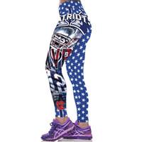 Wholesale Women Print Tights - Football style printed leggings joggers pants ladies women running pants training pants tights gym tights girls sexy patterned tights
