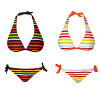 Wholesale Sexy Rainbow Striped Bikini - Sexy Rainbow Print Bikini Three-point Triangle Swimwear Bikini Fashion Women Swimwear Two-Piece Suits Beachwear Chromatic Stripe Bikini