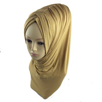 Wholesale Hijab Scarves Pieces - Wholesale-1pc Khimar Instant Hijab One Piece Abaya Jilbab Islam Ramadan muslim pleat instant shawl Jersey Pick 28 Colors retail wholesale