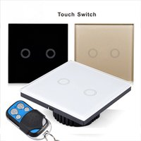 Wholesale Glass Crystal Panels - Touch Switch 2 Gang EU UK Standard Touch Switch, Crystal Glass Switch Panel,Single FireWire Touch Screen Switch free shipping