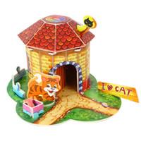 Wholesale Paper House Models - Wholesale- 1pcs DIY Children's Kids Toy Handmade Assembled Cartoon Pet Animal House Model Birthday Gift Creative 3D Paper Puzzle