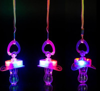 Light Up Pacifier Nipple Whistle Necklace Colorful Flash Led Whistle Stag Hen Party Sports Cheering Glow Props outdoor survival tool favors