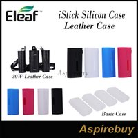Wholesale Ego Lanyards Colors - Clearance!Eleaf iStick 20W 30W 40W 50W 100W Box Mod Basic Kit Silicon Case Leather Cases With eGo Lanyard Ring Mixed Colors 100% Original