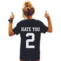 T-shirt stampate da donna cotone da donna HATE YOU 2 Plus size T-shirt Top Camisetas Mujer