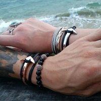 Wholesale Anchor Hook Bracelet - Wholesale-Geniune Leather bracelets Women men Stainless steel Anchor bracelet leather bracelets for men with anchor hook bracelet