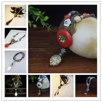 Wholesale Vintage Style Sweaters New - 16 Styles Ethnic Jewelry Ceramic Vintage Necklace for New Women Sweater Pendant Necklace Jewelry Settings Wholesale