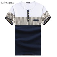 Wholesale Wholesale Mens Striped Shirts - Wholesale- New Fashion Men's T Shirt Summer O-Neck Short Sleeve Stripe T-Shirt Mens Clothing Trend Casual Slim Fit Buttons Top Tees 5XL