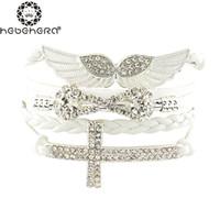 Wholesale Celtic Cross Stone - Wholesale-New Arrival Elegant Women Friendship Bracelets Full Stone Wings Cross Infinity Wholesale Price