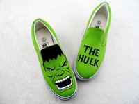 Wholesale handpainted shoes - Fashion Hand-painted Canvas Cartoon Shoes The Hulk Graffiti Handpainted Shoes Low Sneakers Loafers Men Women Green Shoes
