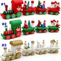 Wholesale Wooden Santa - 6 Design Wooden Christmas Train Santa Claus Dolls Christmas Decoration Kids Baby Xmas Model Vehicle Toys Gift Free Shipping WX9-95