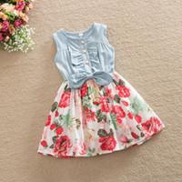 Wholesale knee length sleeveless denim dress - Baby Girl Dress 2017 Summer Children Sleeveless Denim Floral Dresses With Button Kids Princess Summer Dresses For Girls