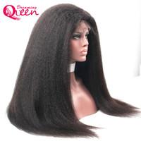 cabelo textura yaki venda por atacado-Kinky Em Linha Reta Peruca Dianteira Do Laço Sem Cola Perucas de Cabelo Humano para As Mulheres Negras com o Cabelo Do Bebê Virgem Do Cabelo Humano Italiano Yaki peruca