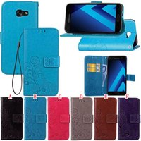 Wholesale Strap Duo - Lucky Clover Wallet Leather Pouch Case For MOTO G4 Play Samsung Galaxy J7 A3 A5 J3 2017 Alpha G850F Trend Duos S7562 Strap Stand Card Cover